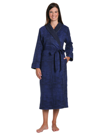 Women's Premium Flannel Fleece Lined Robe - Jutelicious Blue
