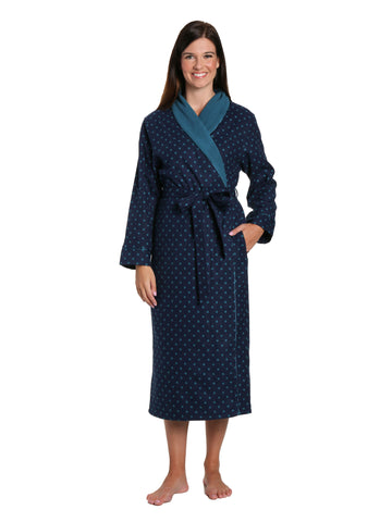 Women's Premium Flannel Fleece Lined Robe - Dots Diva Blues