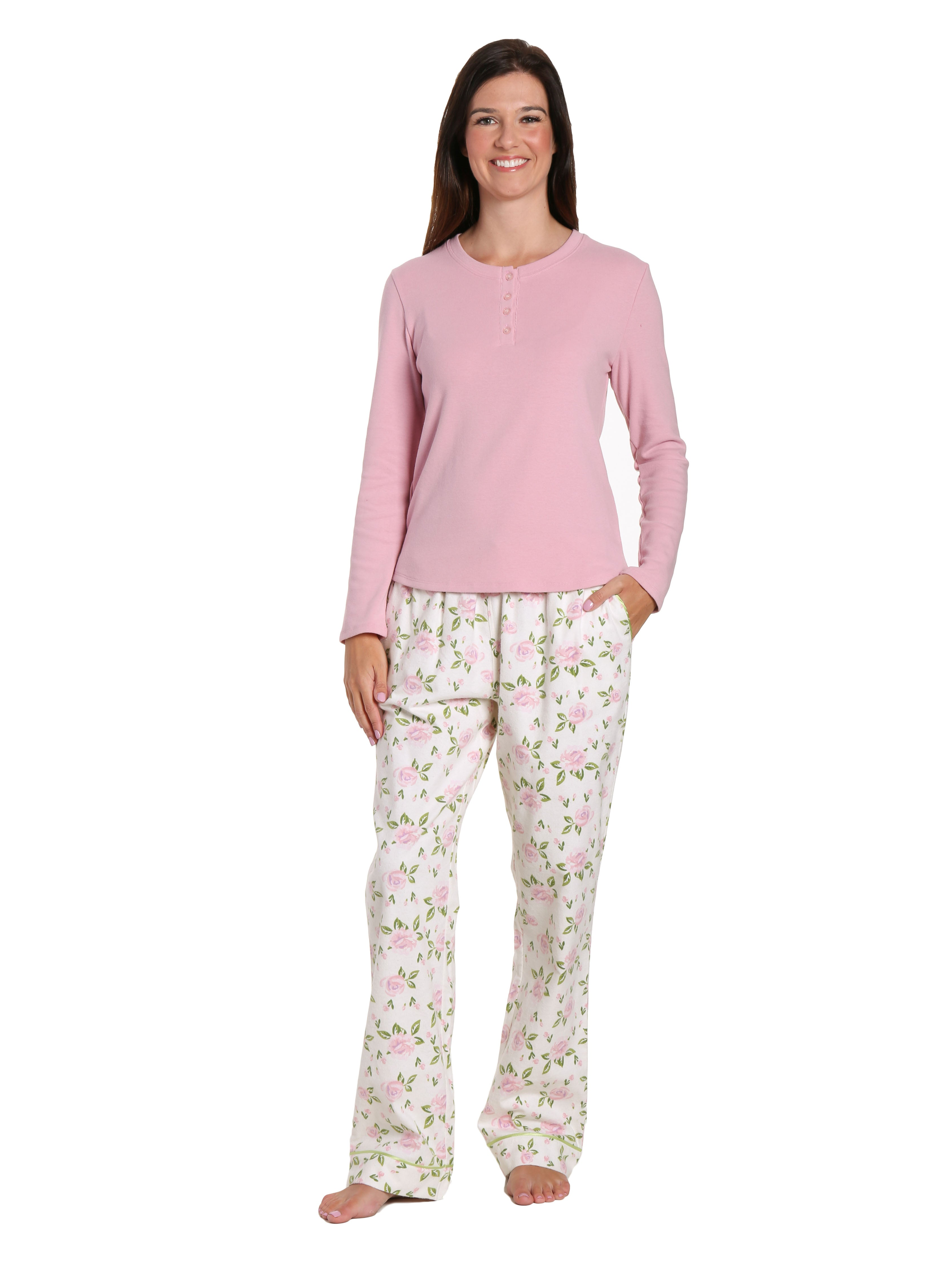 Womens Premium Cotton Flannel Loungewear Set - Gardenia Cream-Pink