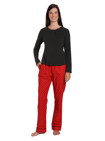 Womens Premium Cotton Flannel Loungewear Set - Dots Diva Red-Black