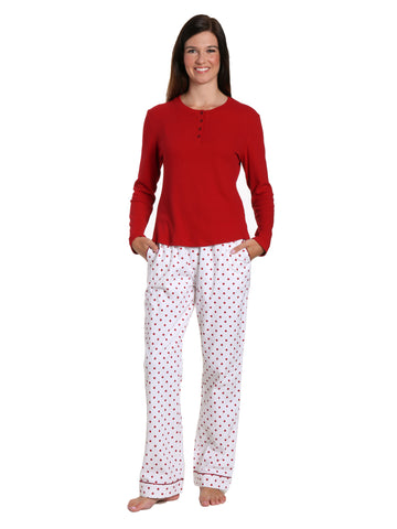Womens Premium Cotton Flannel Loungewear Set - Dots Diva White-Red