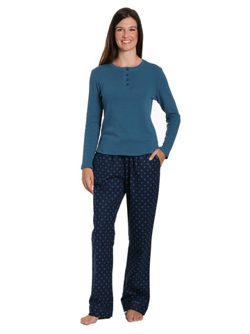Womens Premium Cotton Flannel Loungewear Set - Dots Diva Blue
