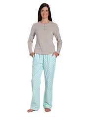 Womens Premium Cotton Flannel Loungewear Set - Dots Diva Aqua-Gray