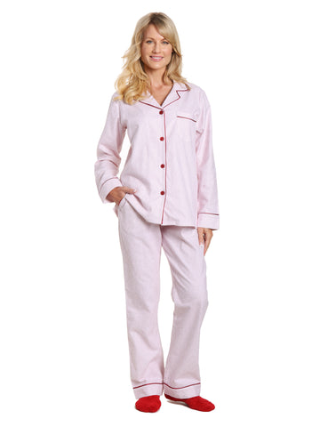 Box Packaged Women's Premium 100% Cotton Flannel Pajama Sleepwear Set - Geo Mosaic White/Red