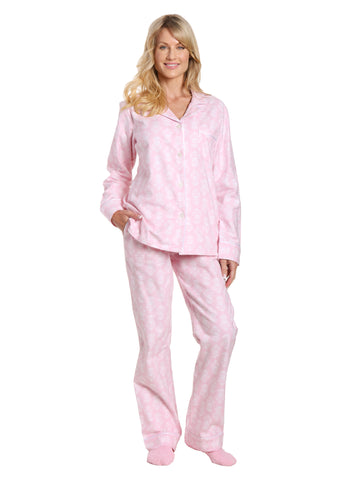 Box Packaged Women's Premium 100% Cotton Flannel Pajama Sleepwear Set - Brocade Pink-White