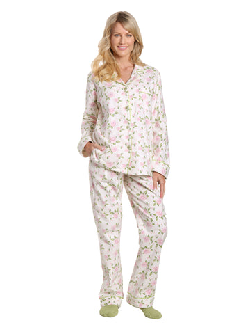 Box Packaged Women's Premium 100% Cotton Flannel Pajama Sleepwear Set - Gardenia Cream-Pink