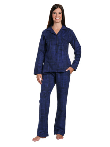 Box Packaged Women's Premium 100% Cotton Flannel Pajama Sleepwear Set - Jutelicious Blue