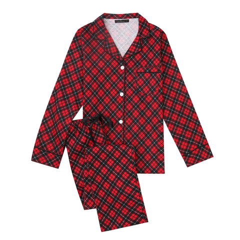 Women Pajamas Set - 100% Cotton Flannel Pajamas - Plaid Red-Black