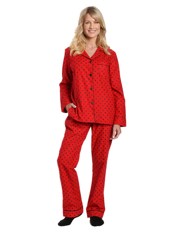 Box Packaged Women's Premium 100% Cotton Flannel Pajama Sleepwear Set - Dots Diva Red-Black