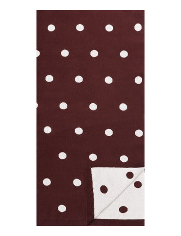 Women's 100% Cotton Reversible Double Knit Polka Dot Scarf - Bordeaux/Ivory