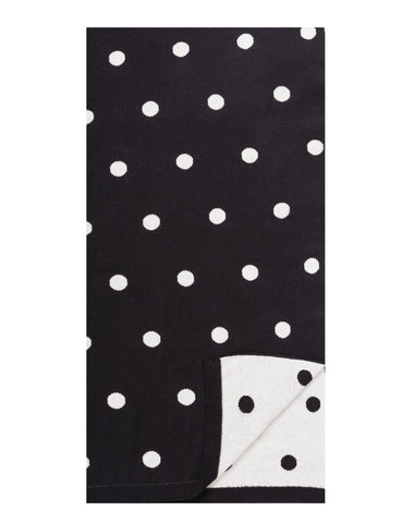 Women's 100% Cotton Reversible Double Knit Polka Dot Scarf - Black/Ivory