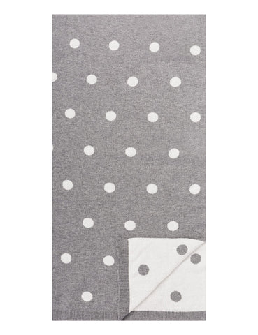 Women's 100% Cotton Reversible Double Knit Polka Dot Scarf - Heather Grey/Ivory