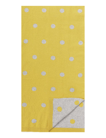 Women's 100% Cotton Reversible Double Knit Polka Dot Scarf - Mustard/Heather Grey