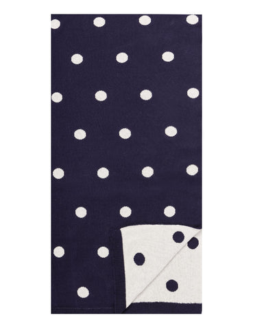 Women's 100% Cotton Reversible Double Knit Polka Dot Scarf - Navy/Ivory