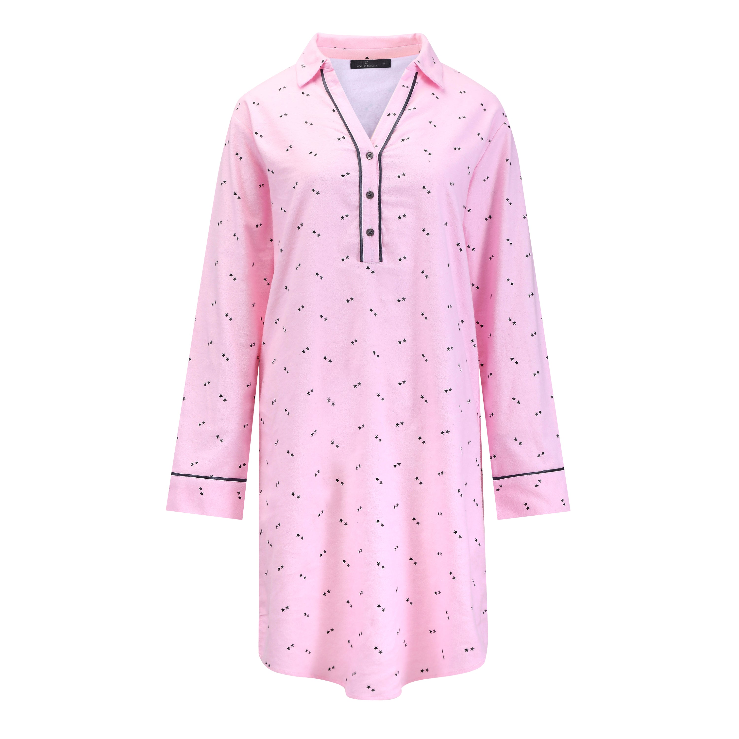 Noble Mount Womens Premium 100% Cotton Flannel Long Sleeve Sleep Shirt - Twinkle Pink-Grey