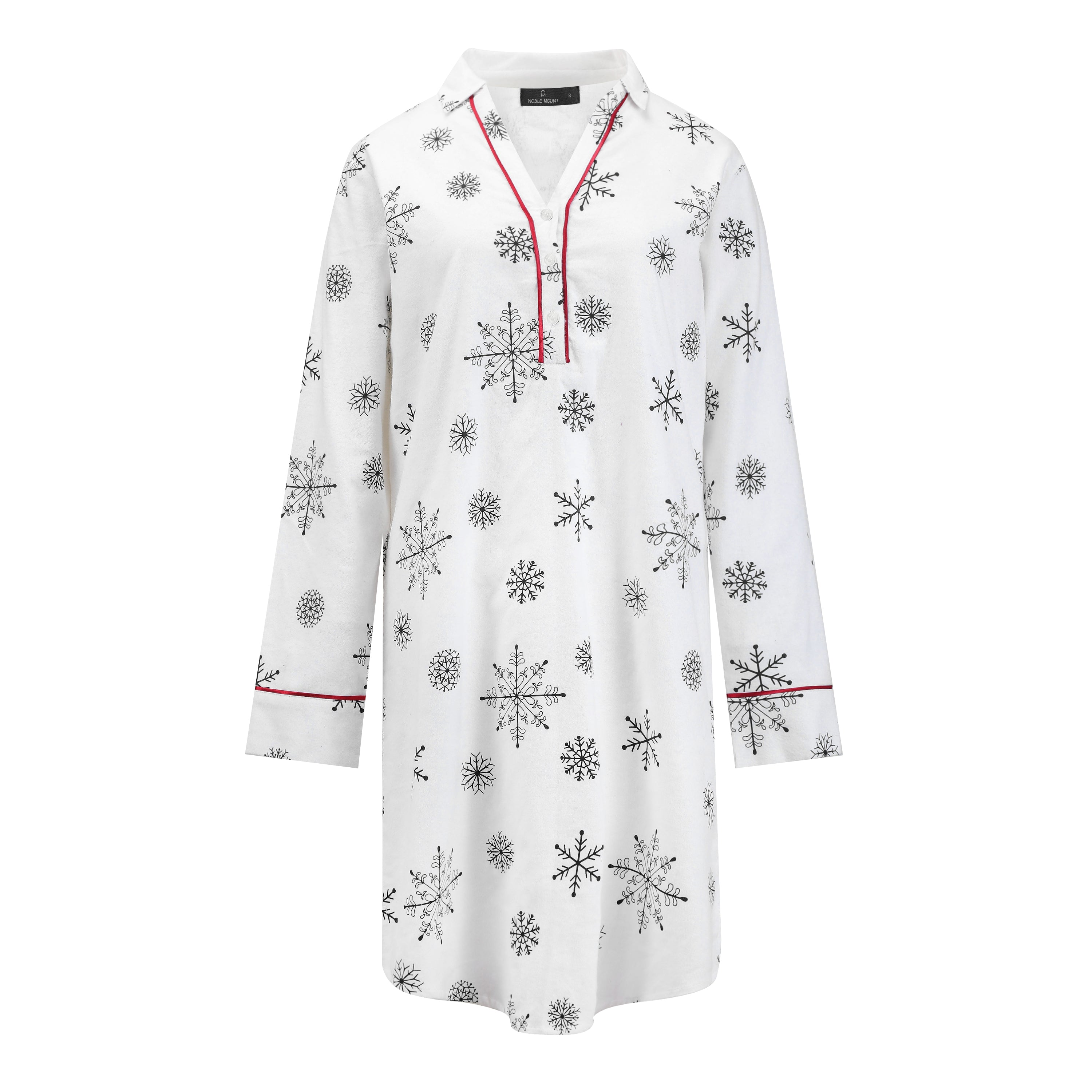 Noble Mount Womens Premium 100% Cotton Flannel Long Sleeve Sleep Shirt - Snowfall White-Gray