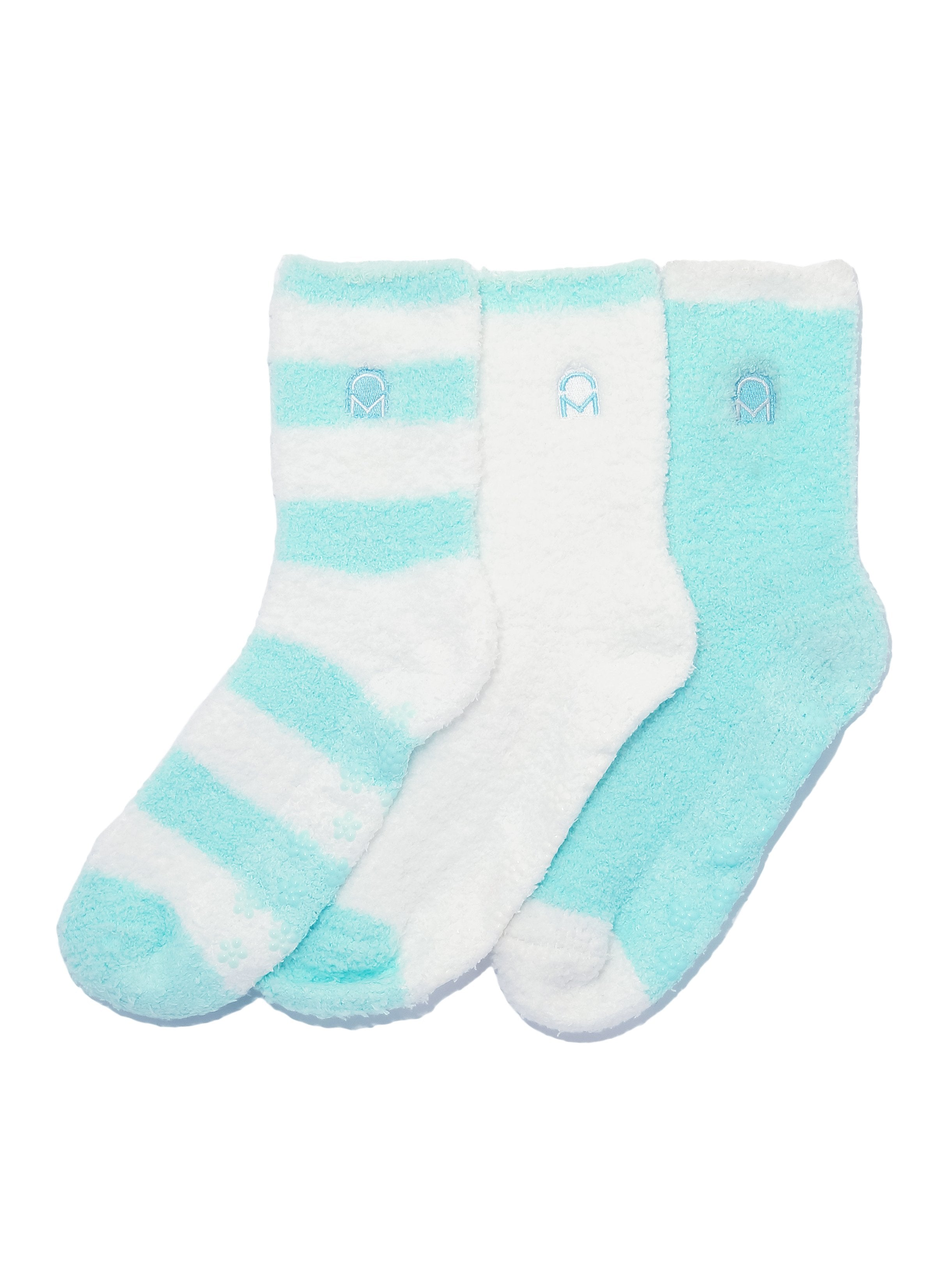 Women's (3 Pairs) Soft Anti-Skid Fuzzy Winter Crew Socks - Set D13