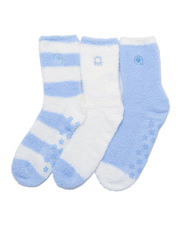 Women's (3 Pairs) Soft Anti-Skid Fuzzy Winter Crew Socks - Set D15
