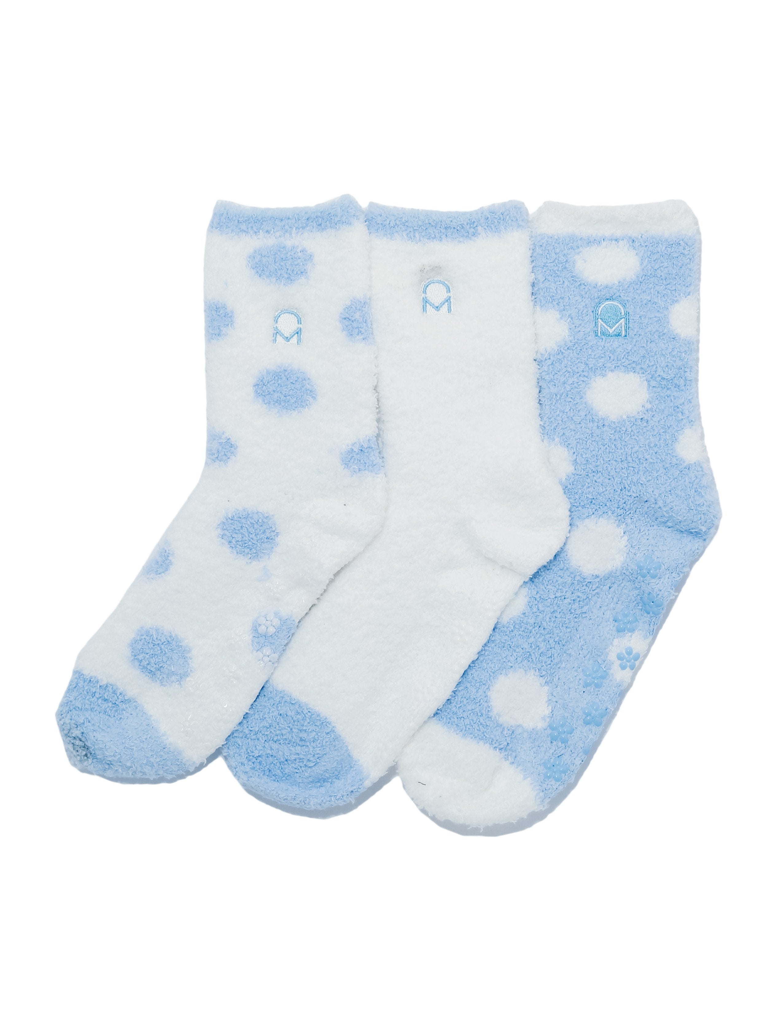 Women's (3 Pairs) Soft Anti-Skid Fuzzy Winter Crew Socks - Set D16