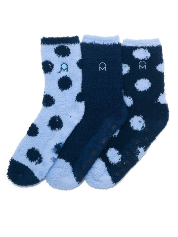 Women's (3 Pairs) Soft Anti-Skid Fuzzy Winter Crew Socks - Set D18