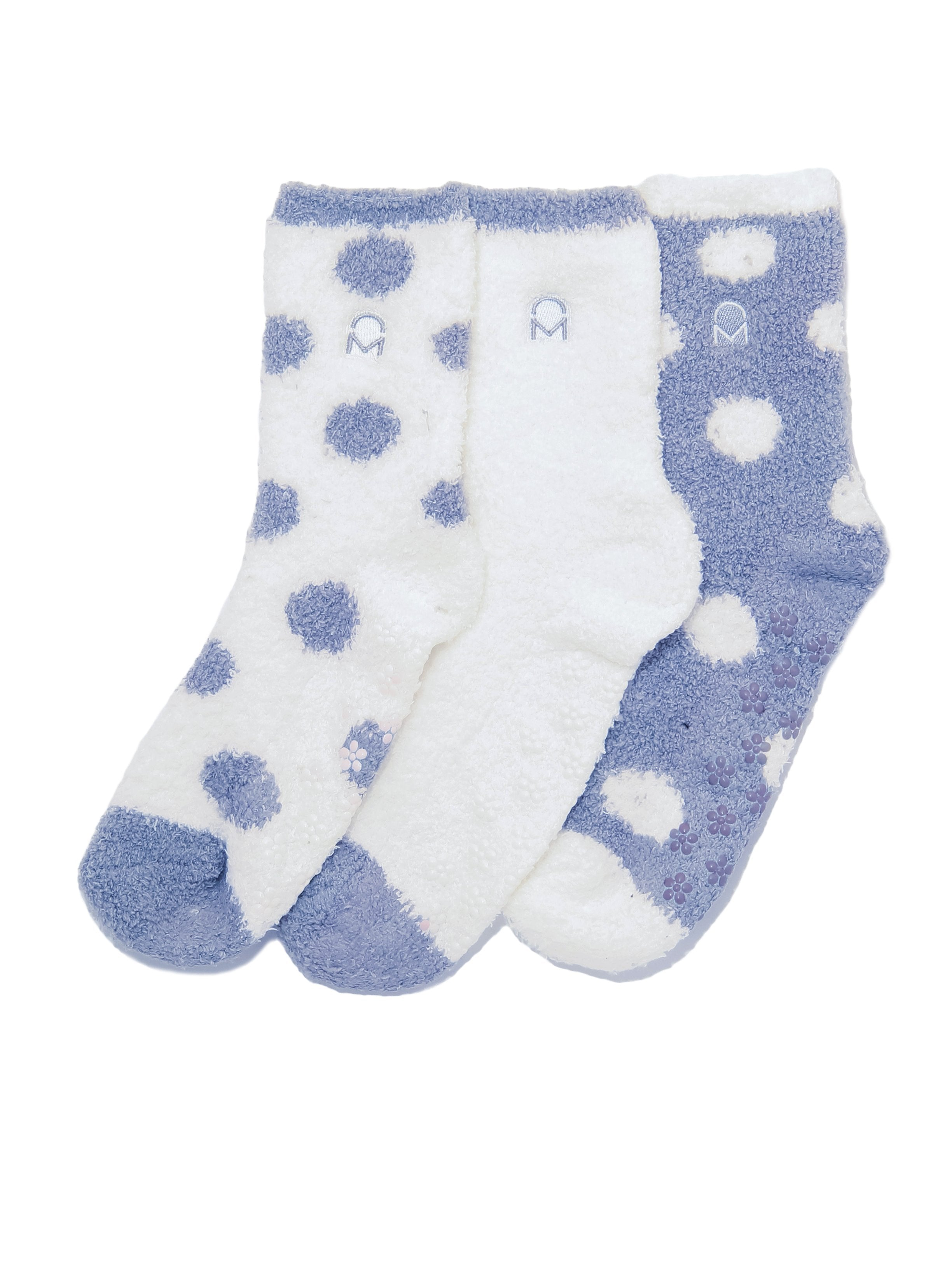 Women's (3 Pairs) Soft Anti-Skid Fuzzy Winter Crew Socks - Set D2