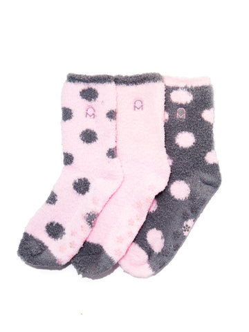 Women's (3 Pairs) Soft Anti-Skid Fuzzy Winter Crew Socks - Set D4