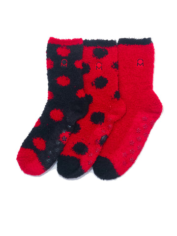 Women's (3 Pairs) Soft Anti-Skid Fuzzy Winter Crew Socks - Set D6