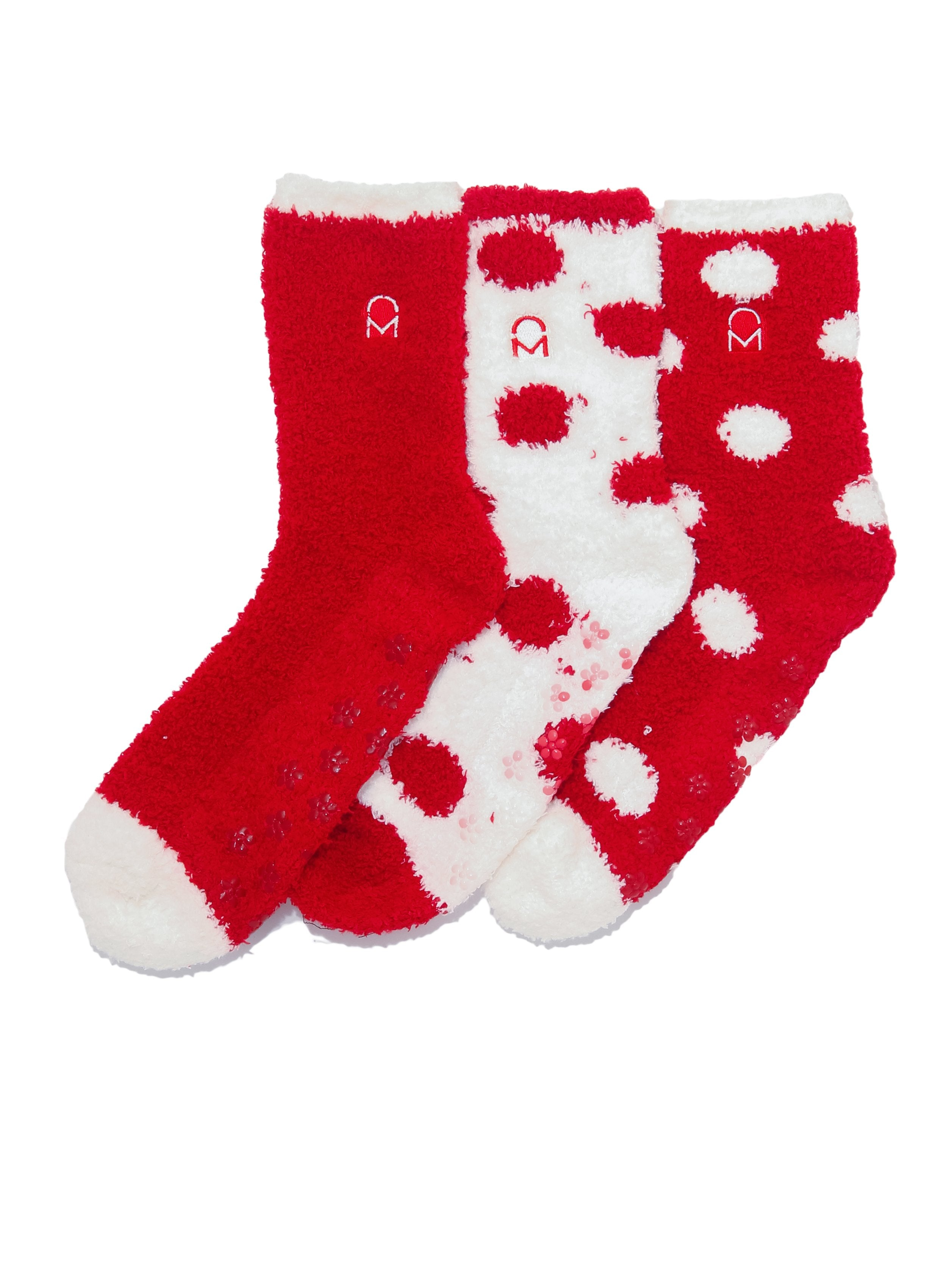 Women's (3 Pairs) Soft Anti-Skid Fuzzy Winter Crew Socks - Set D8