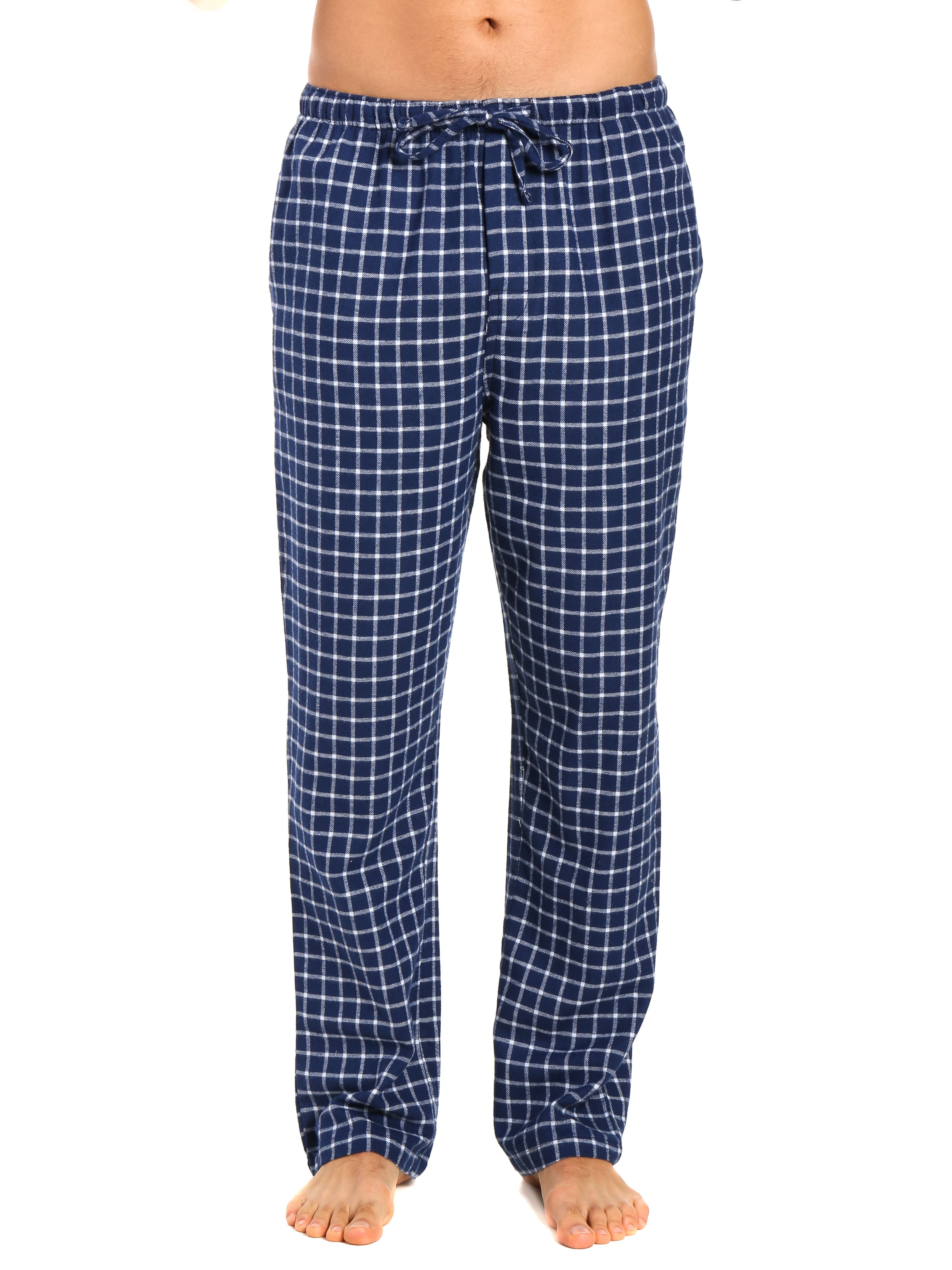 Men's 100% Cotton Flannel Lounge Pants - Checks Navy-Blue