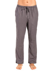 Men's 100% Cotton Flannel Lounge Pants - Checks Charcoal-Black