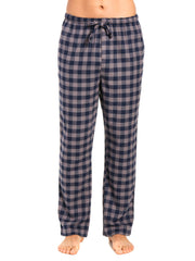 Men's 100% Cotton Flannel Lounge Pants - Gingham Charcoal-Navy