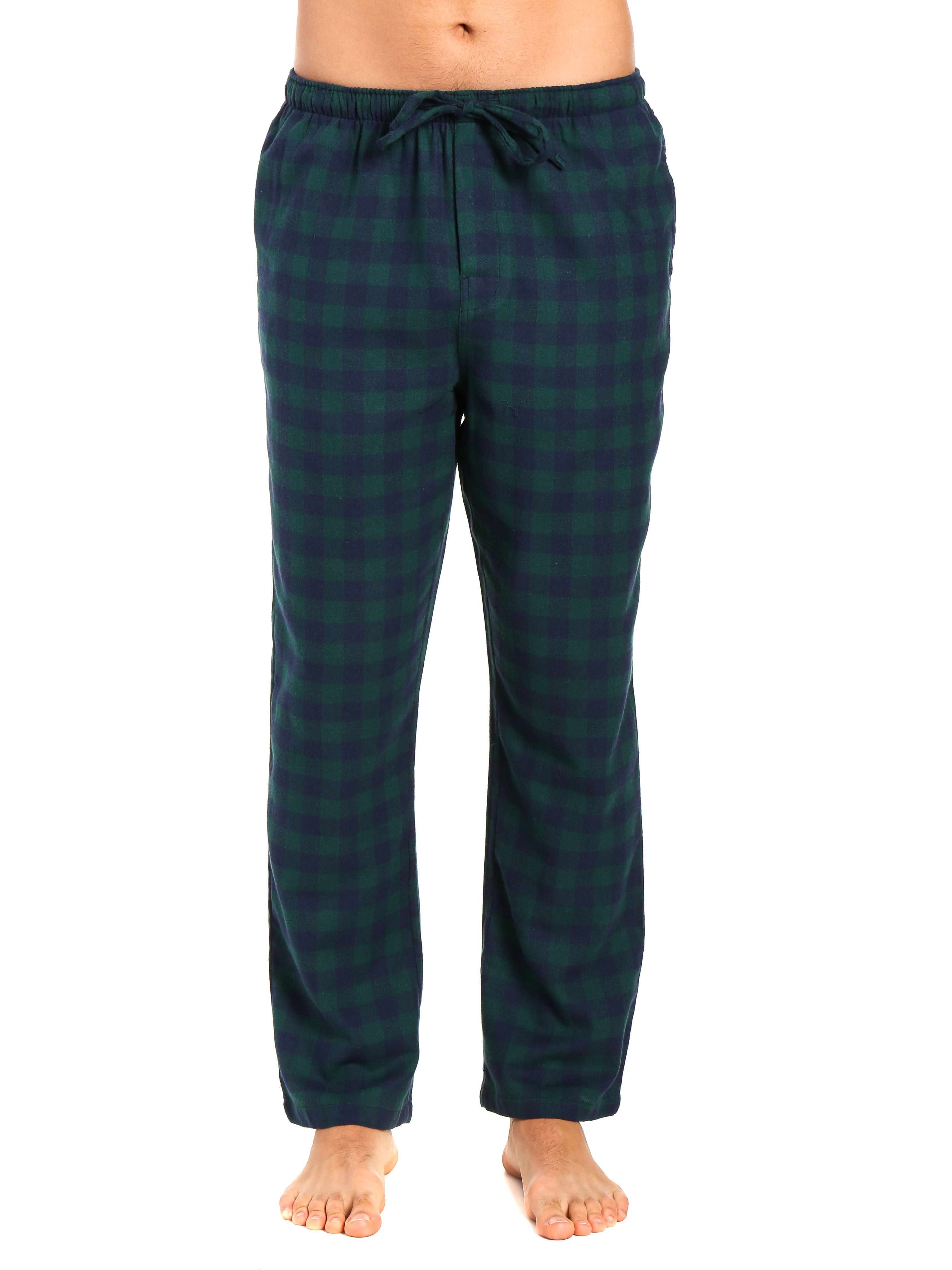 Men's 100% Cotton Flannel Lounge Pants - Gingham Navy-Green
