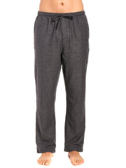 Men's 100% Cotton Flannel Lounge Pants - Herringbone Charcoal