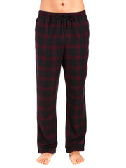 Men's 100% Cotton Flannel Lounge Pants - Plaid Fig-Black