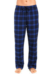 Men's 100% Cotton Flannel Lounge Pants - Plaid Blue-Navy
