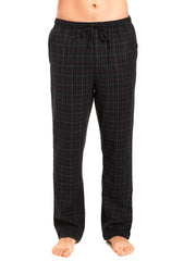 Men's 100% Cotton Flannel Lounge Pants - Plaid Black-Multi