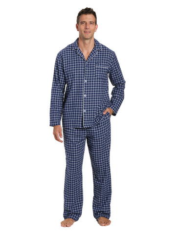 Men's 100% Cotton Flannel Pajama Set - Checks Navy-Blue
