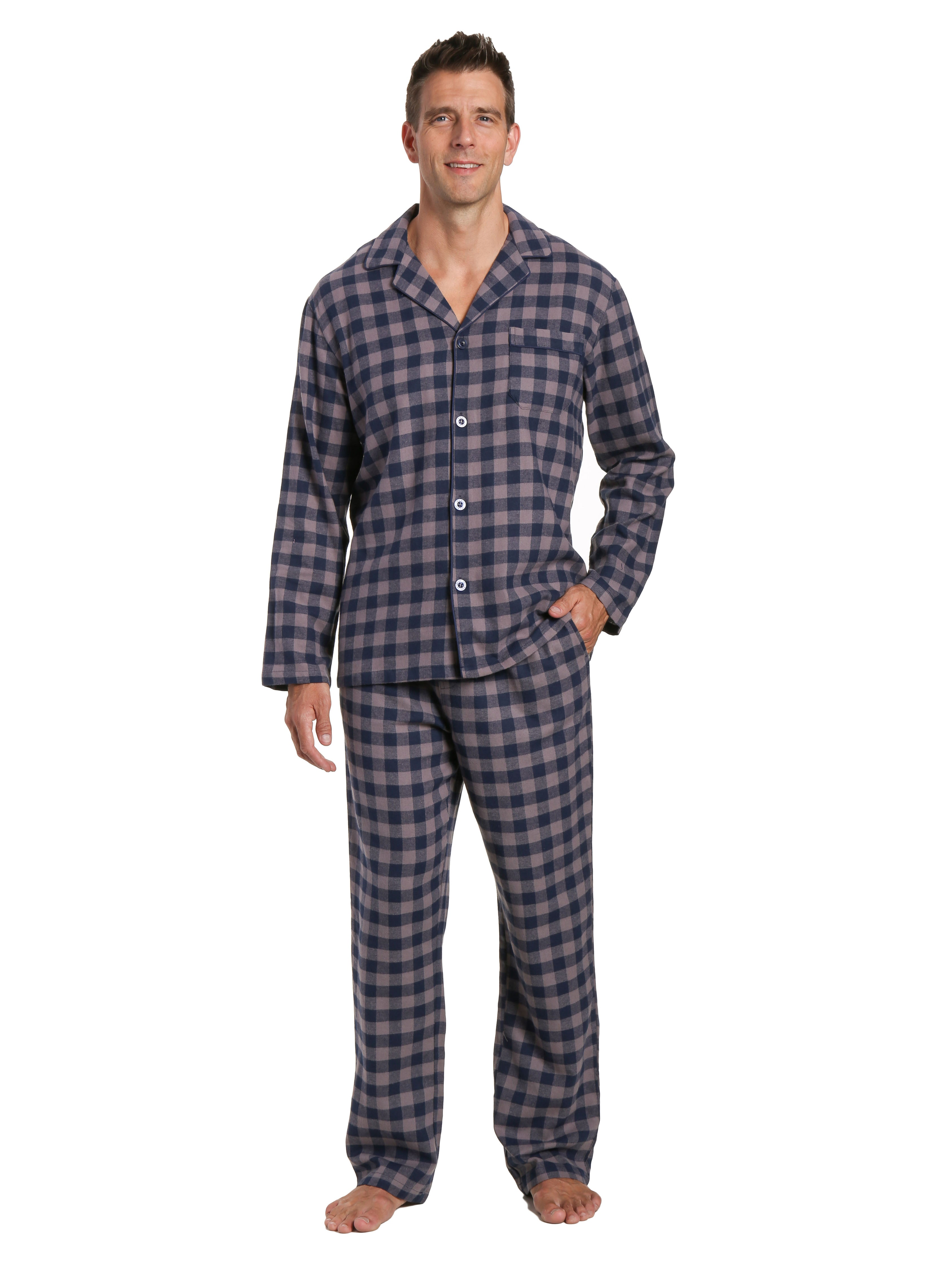 Men's 100% Cotton Flannel Pajama Set - Gingham Charcoal-Navy