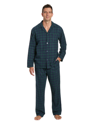 Men's 100% Cotton Flannel Pajama Set - Gingham Navy-Green