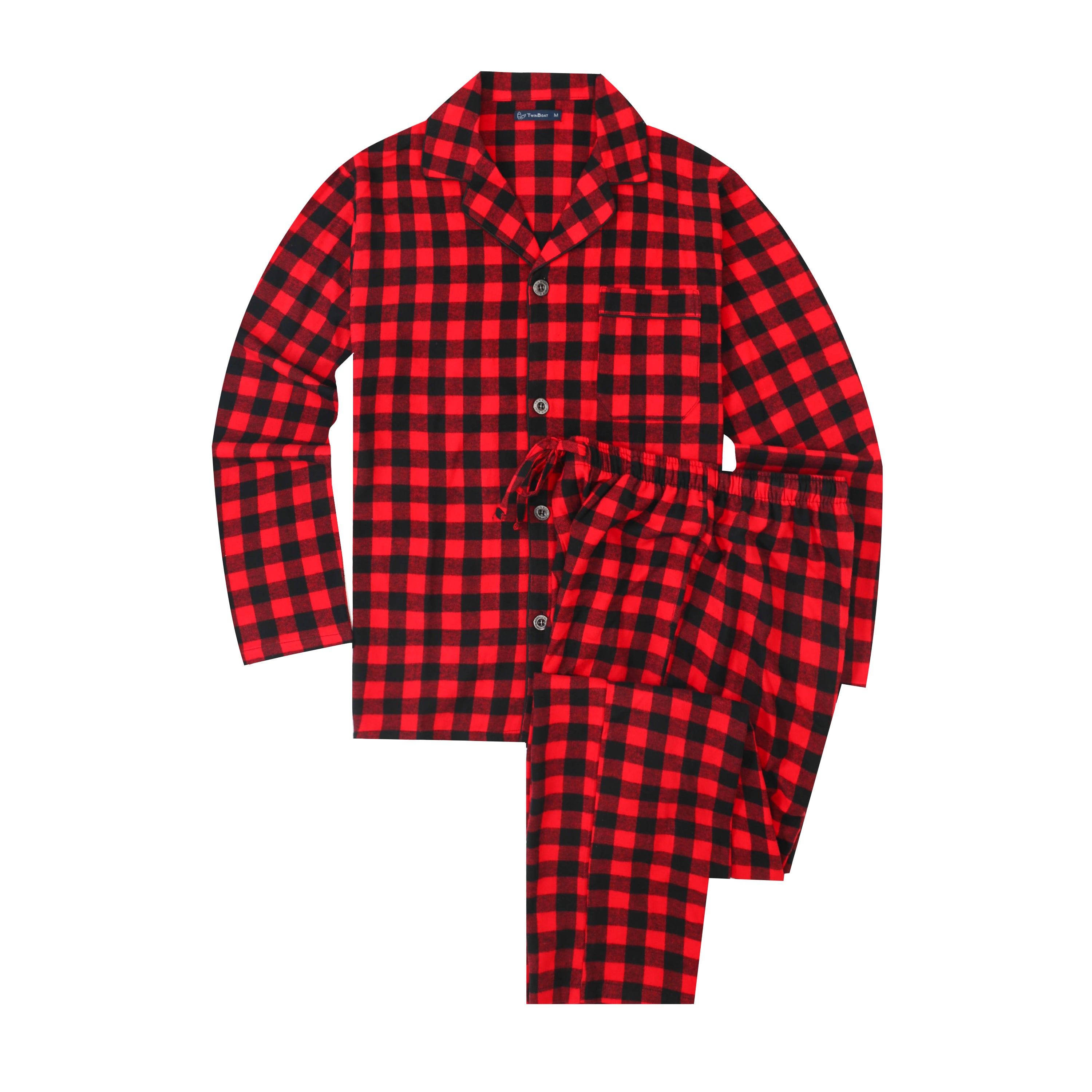 Mens Pajamas Set - 100% Cotton Flannel Pajamas for Men