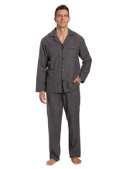 Men's 100% Cotton Flannel Pajama Set - Herringbone Charcoal