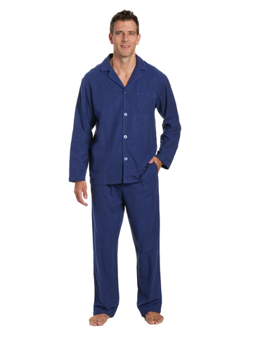 Men's 100% Cotton Flannel Pajama Set - Herringbone Navy