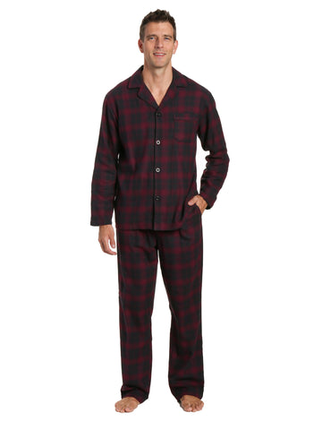 Men's 100% Cotton Flannel Pajama Set - Plaid Fig-Black