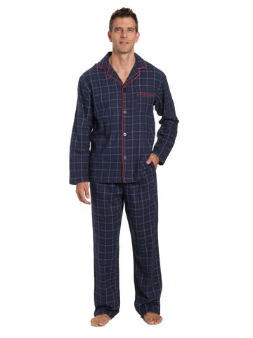 Men's 100% Cotton Flannel Pajama Set - Plaid Navy-Multi