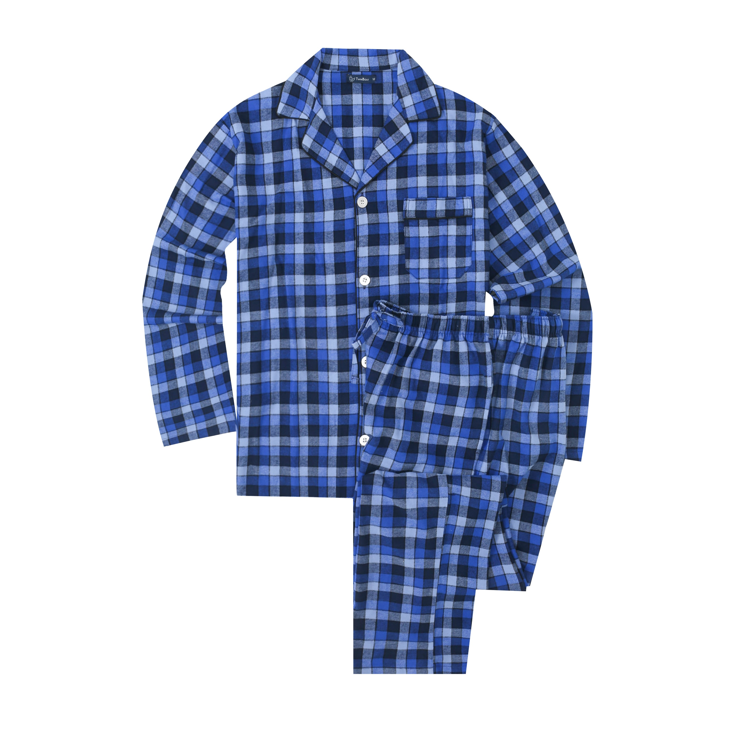 Mens Pajamas Set - 100% Cotton Flannel Pajamas for Men - Gradient Plaid Navy-Blue