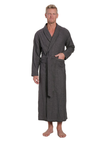 Men's 100% Cotton Flannel Long Robe - Herringbone Charcoal