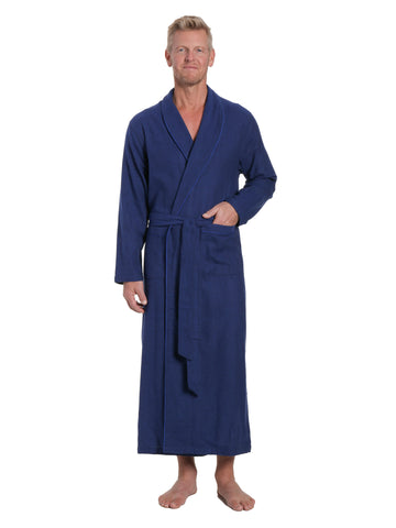 Men's 100% Cotton Flannel Long Robe - Herringbone Navy