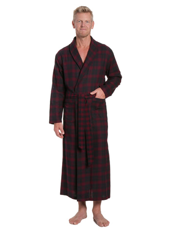 Men's 100% Cotton Flannel Long Robe - Plaid Fig-Black