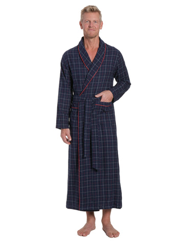 Men's 100% Cotton Flannel Long Robe - Plaid Navy-Multi