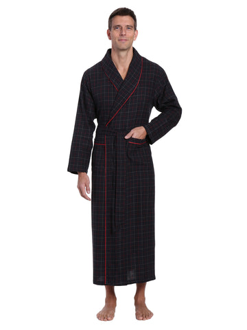 Men's 100% Cotton Flannel Long Robe - Plaid Black-Multi